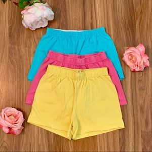 Set of 3 Girls Plain Cotton Shorts